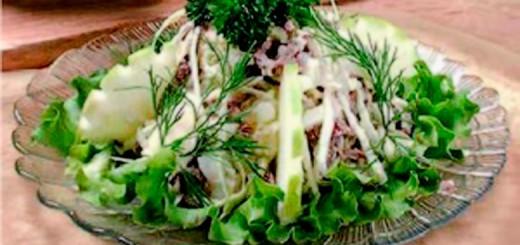 ხორცის სალათი კომბოსტოთი და კარტოფილით