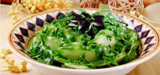 სალათი კიტრითა და ზეთისხილით